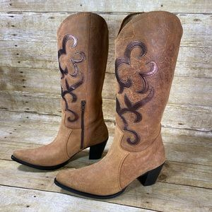 Nine West Camel Suede Cowgirl Boots Size 9